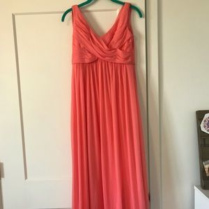 David's Bridal Coral Reef Bridesmaid Dress